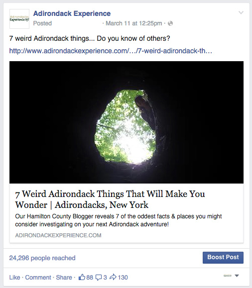 This popular Facebook post drove traffic to adirondackexperience.com