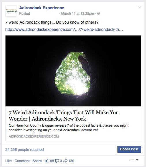 This popular Facebook post drove traffic to adirondackexperience.com