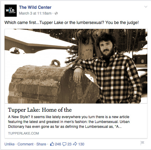 Tupper Lake Facebook share example - thanks Wild Center!