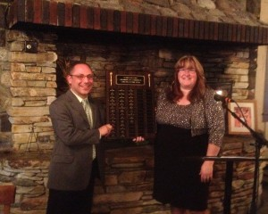 The Schroon Lake Chamber of Commerce awarded its Citizen of the Year Award to the Seagle Music Colony at its annual dinner Tuesday night at the Word of Life Conference Center. (L-R: Tony Kostecki, general director, Seagle Music Colony, and Tammy Whitty-Brown, executive director of the Schroon Lake Chamber of Commerce).