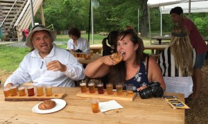 Bloggers trying out a flight of Paradox Brewery beer and pretzels in Schroon Lake.