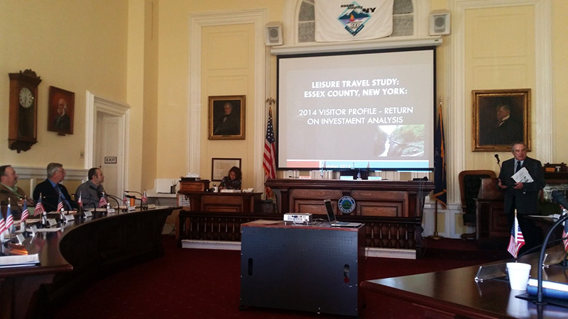 James McKenna, ROOST president, presents 2014 Leisure Travel Study results to the Essex County Board of Supervisors on Nov. 9.