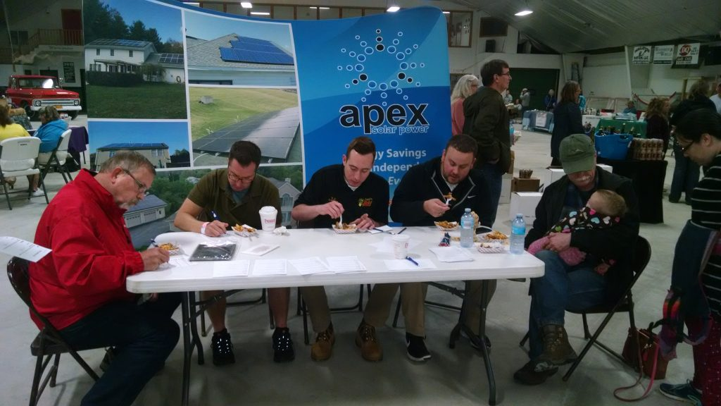Nice job if you can get it: judges for the Mayor's Poutine Challenge: L – R Rick LeVitre, Cornell Cooperative Extension, Mayor Joe Riccio, Village of Malone, DJ Canon, Mayor DJ with Martz Communications and Chris Cordes with Cordes Software.