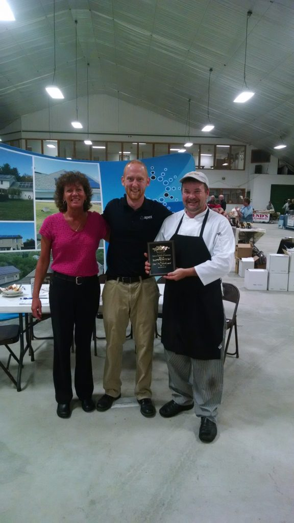 2016 Malone Chamber of Commerce Summer Fest Poutine Contest Winner was Mo's Pub & Grill. L - R Sharon Tucker, Manager, Casey Degon, Malone Chamber of Commerce, and Chef Marc Senechal - Congratulations!