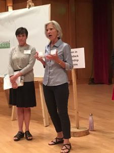 Barb Rice, left, and Teresa Sayward talk about the challenges women face in politics.
