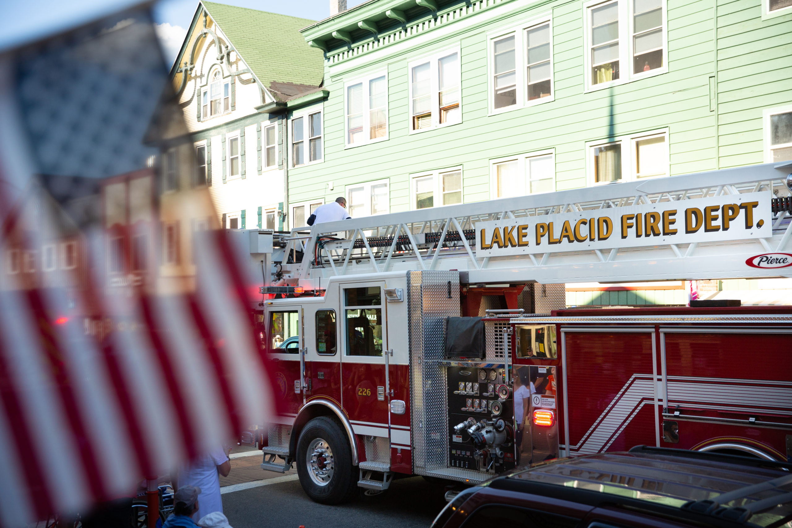 Firetruck passes through Main Street during the Lake Placid 4th of July Parade.