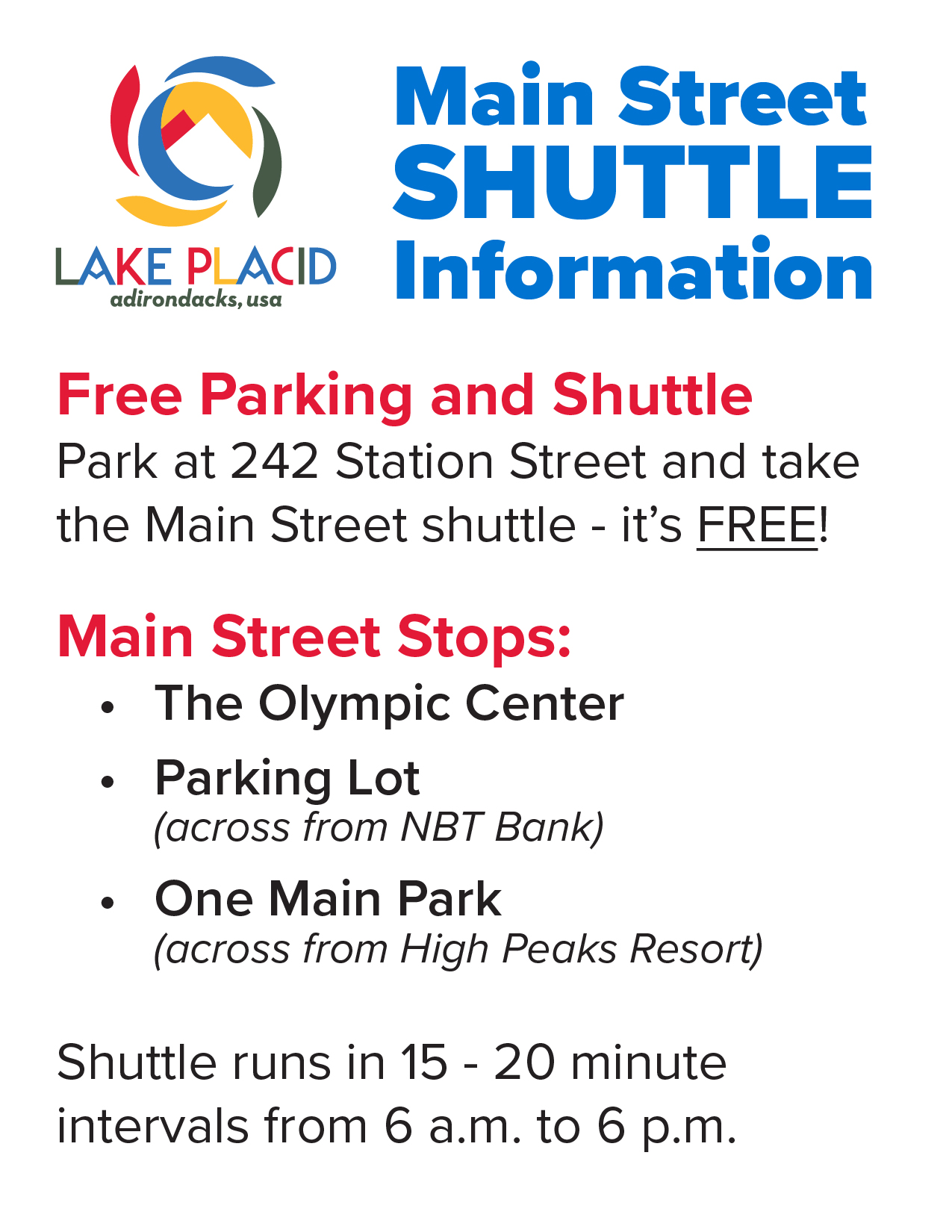 Main Street Shuttle Information Print Out