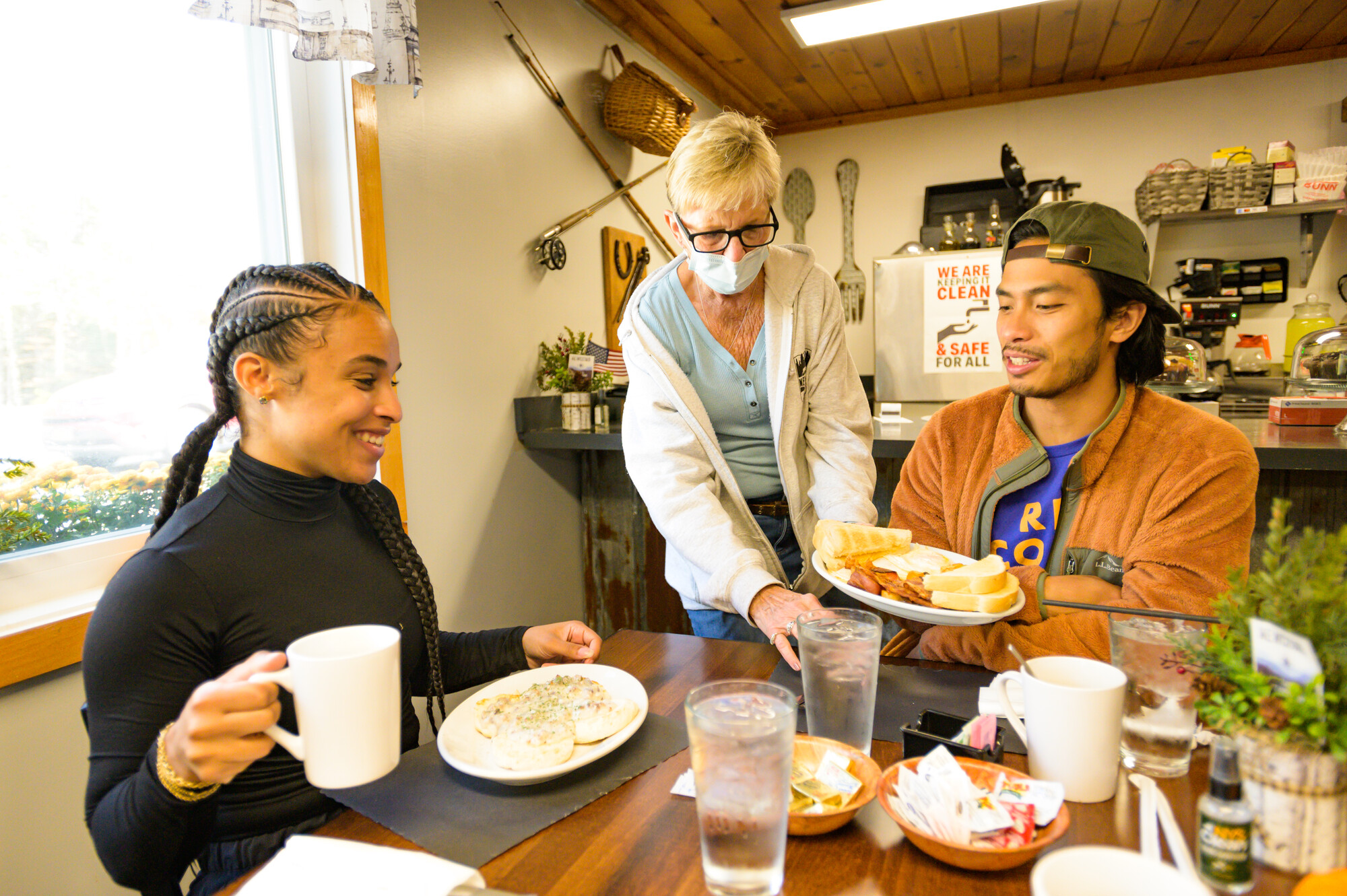 Diners are served at the Newcomb Cafe